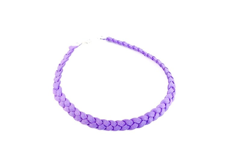Light purple - twist braid suede necklace
