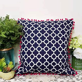 Nordic style dark navy blue geometric pattern purple hairs ball pillow / cushion