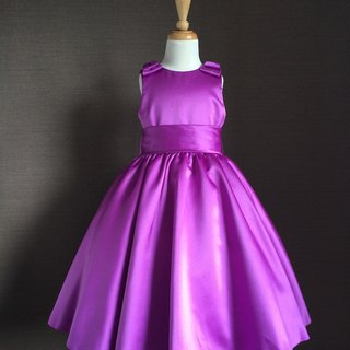 Purple Double Bow Satin Dress