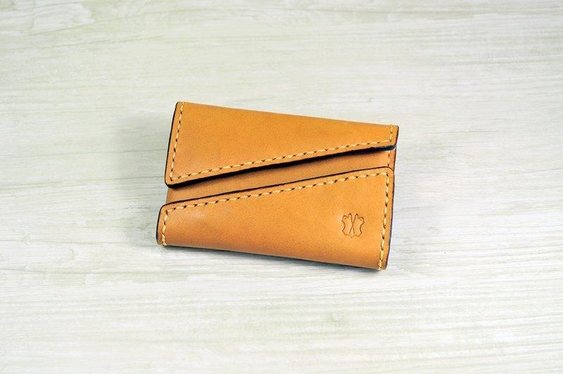 MICO 手縫皮革咭片盒 雙開口設計 (淺茶)