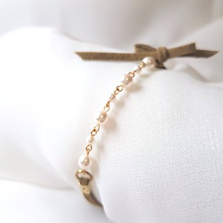 Succeeding belt size pearl suede rope bracelet