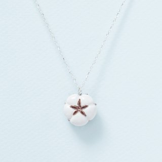 Small cotton - handmade white porcelain sterling silver necklace