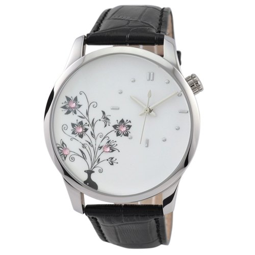 Flower Watch dotted Pink Crystals (Black)