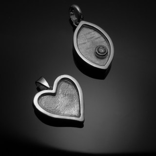 ReShi / fingerprint package box eye-shaped pendant / 925 sterling silver / fingerprint silver / custom handmade / Valentine's family gifts