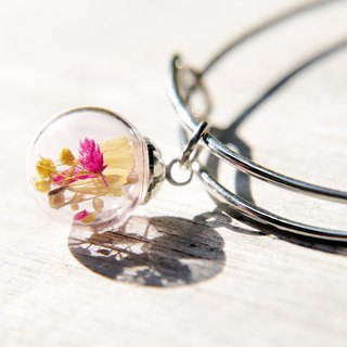 / Forest girl / English minimalist pink glass balls silver bracelet / bracelet - small forest