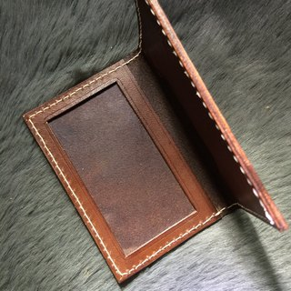 Rever Leather vegetable tanned Italian leather jacket pickup chip card name card holder leather jacket brown card can be customized two-bit full manual sewing can be put lettering with cards or certificates for free