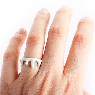Water Drop white Blood ring in brass ,Rocker jewelry ,Skull jewelry,Biker jewelry