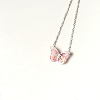 Haku‧Neko  Light pink x yellow x purple hand painted white pattern butterfly