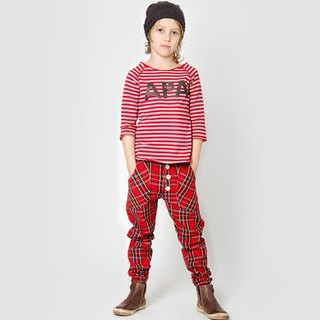 [Design] Nordic organic cotton pants streets of England for 1Y-8Y_ red Shampoodle Sweden Kids