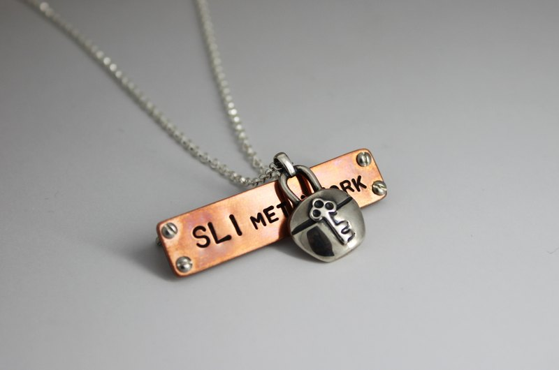 s925 sterling silver necklace-Lock of Heart