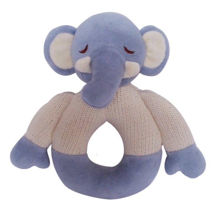 美國MyNatural有機棉晚安系列固齒器手搖鈴-粉藍小象