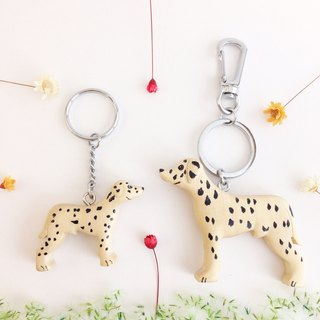 [Handmade wooden x dog series] * black and white barley choi key ring / strap