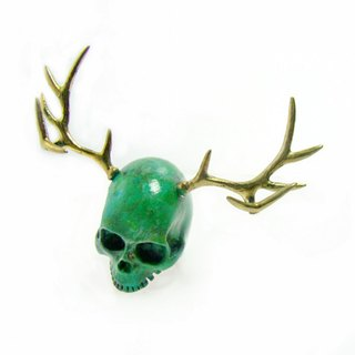 Skull with stag horn ring in brass with patina color ,Rocker jewelry ,Skull jewelry,Biker jewelry