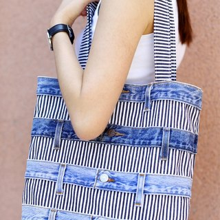 Denim X Stripe Patchwork Tote Bag