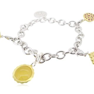"925 Silver Hong Kong Street Snack Charms(X4) With 7.5"" Silver Bracelet"