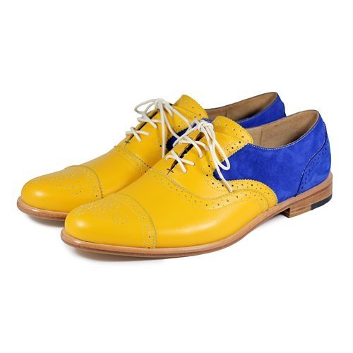 Sweet Villians M1093B 手工真皮雕花雙色牛津鞋 黃寶藍