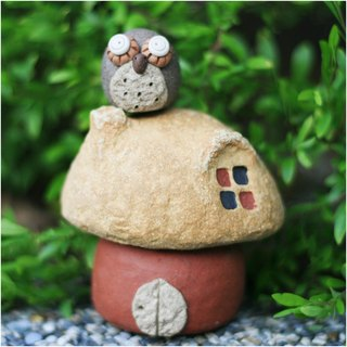 【Mushroom Village Mushroom Village】 Super cute pottery for mushroom house E (rock yellow + red), without owl