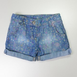 Color printing denim shorts