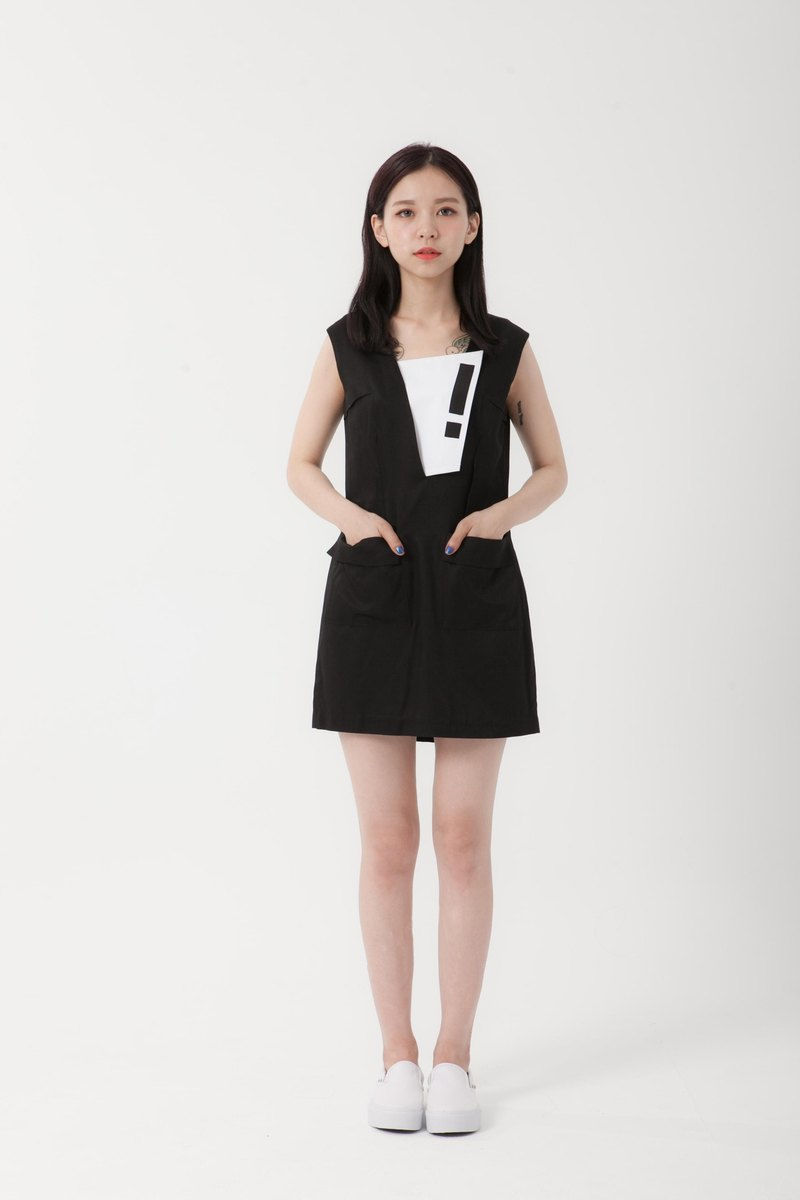 VTGO exclamation point removable black dress | cotton | junction series | want to be good when individuals