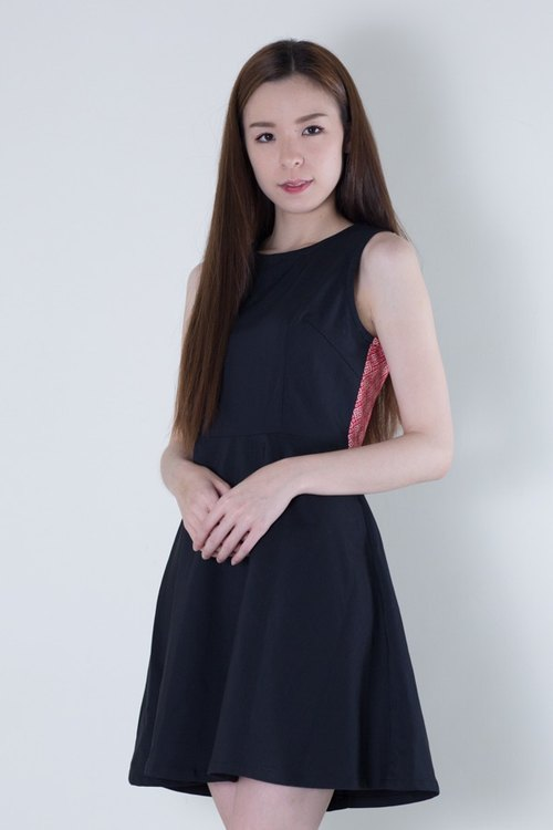 EAS elegant black dress with red Teesside Kebu