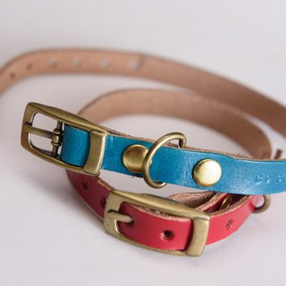Hand-dyed - Leather Pet Collar - Cat's clasp larger version (for hangers)