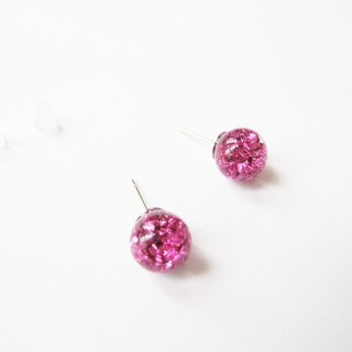 * Rosy Garden * Pink Planet Gravel Ore Shaped Flow Crystal Glass Ball Earrings