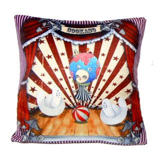 """Gookaso"" Earth's sister CIRCUS Circus cartoon printed pillow SIZE S 40x40cm original design"