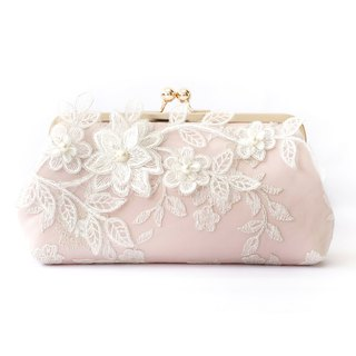 Bridal Clutch with Magnolia Flower Vine Lace in Blush Pink and Gold