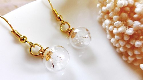 K gold plated ear acupuncture [dandelion] -XIAO ◆ Favorite Season Series Special Valentine's Day gift handmade glass