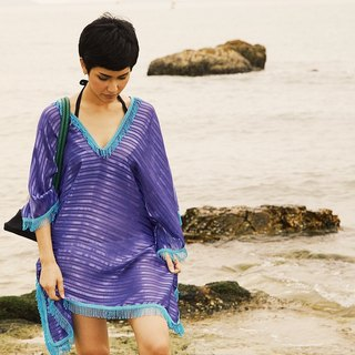 'PAPER' Beach Cover-up / Kaftan / Poncho in Ultra Purple (ONE SIZE)
