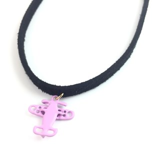 """Purple small aircraft necklace"""