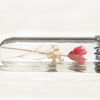 Valentine's Day gift / forest girl / English dried flower glass necklace - red flowers + Starry
