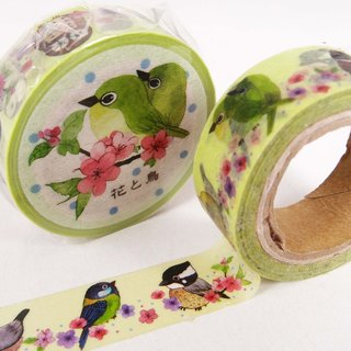 Flowers and bird paper tape