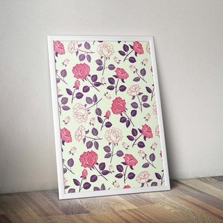 Retro geometric red and white roses _