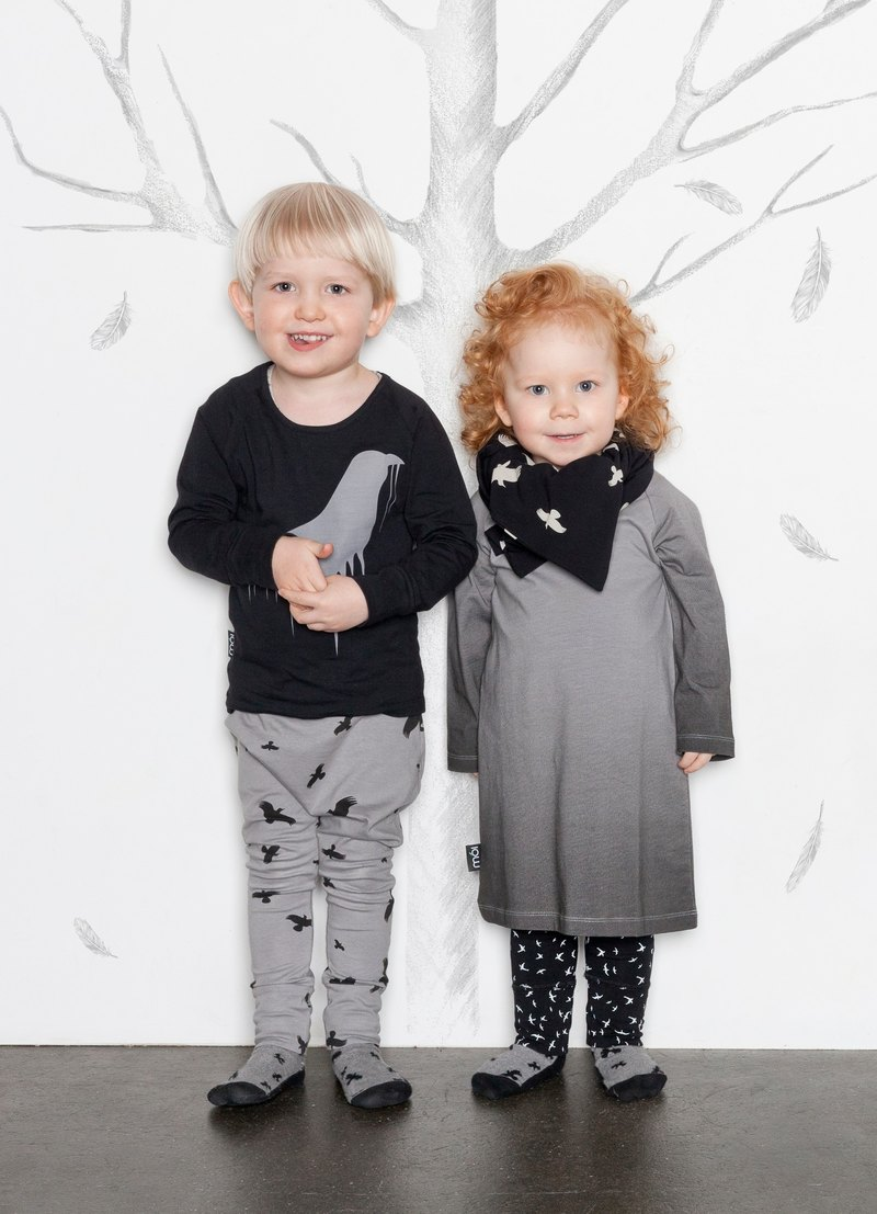 [Nordic children's clothing] Swedish organic cotton girl dress 3 to 6 years old gradually gray