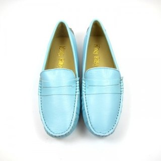 Fort Tony Wang handmade leather shoes (female) [sheep / bean bottom / sky blue]
