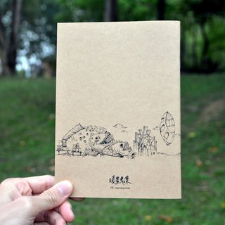 [Warm crisis set illustration painting creative design in black and white kraft paper notebook]