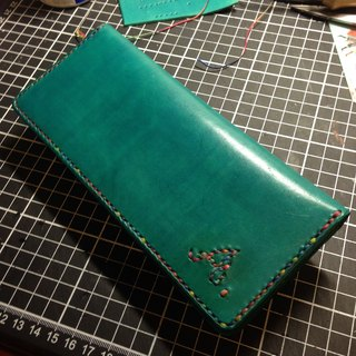 Handmade hand-dyed leather long attached purse (free printing, embroidered words)