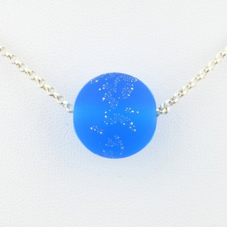 Blue Star Ball Handmade Lampwork Glass Sterling Silver Necklace