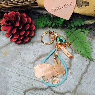 Oops leather woven rope mini rabbit silhouette rose gold strap (key ring) - Christmas gift -