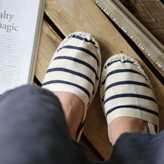 Espadrilles Picasso blue and white striped straw shoes
