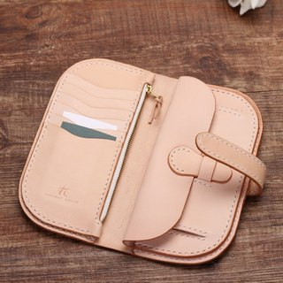 [Cut line] Italian vegetable tanned leather handmade leather ladies wallet long clip 001 original color