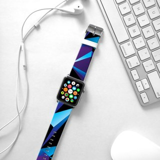 Apple Watch Series 1 , Series 2, Series 3 - Blue Geometric Pattern Watch Strap Band for Apple Watch / Apple Watch Sport - 38 mm / 42 mm avilable