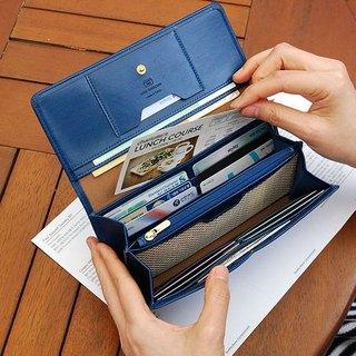 PLEPIC-Episode Leather Long Wallet Wallet - Navy, PPC92184