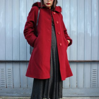 F1801 [made in Italy label] (Vintage) removable caps warm red wool coat jacket (Made in Italy)