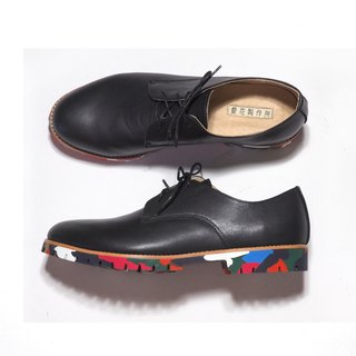 He loves flowers handmade shoes Germany - Black leather sole color