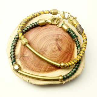 Wilderness trails. Simple two-color series ◆ Sugar Nok ◆ hand-woven wax wire bracelet brass