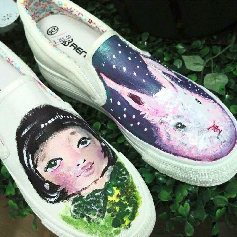 [Double Queen] fairy painted canvas shoes - custom-made (QS0001) / Hong Kong illustrator / canvas shoes / casual shoes / hand-painted craft / Gospel Gifts