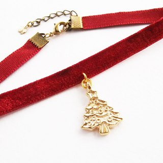 ฺRed velvet choker/necklace with Christmas tree charm