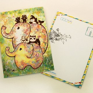 Good meow painted postcard - Elephant flowering